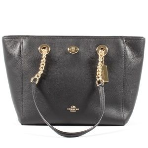 Coach Chain Shoulder Bag Black Leather Tote NEW
